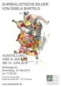 Plakat Vernissage Bartels - Surrealistische Bilder von Gisela Bartels am 16. Mai 2019